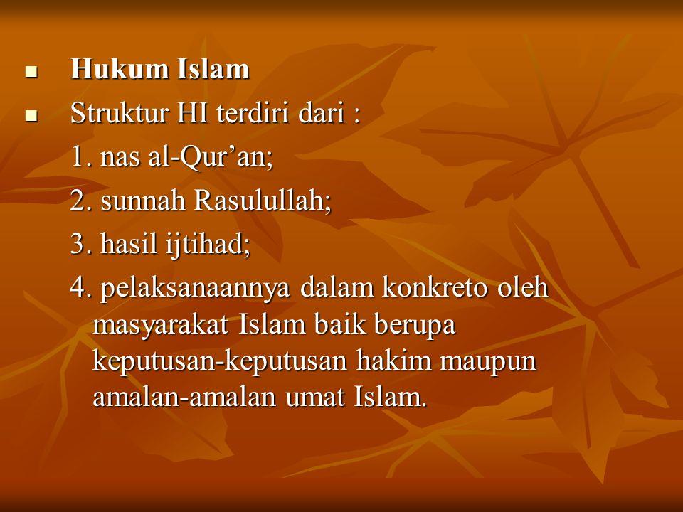 Hukum Islam Hukum Islam Struktur HI terdiri dari : Struktur HI terdiri dari : 1. nas al-Qur'an; 2. sunnah Rasulullah; 3. hasil ijtihad; 4. pelaksanaan