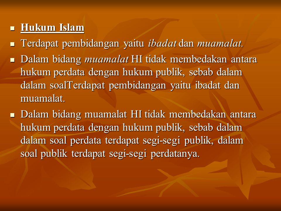 Hukum Islam Hukum Islam Terdapat pembidangan yaitu ibadat dan muamalat. Terdapat pembidangan yaitu ibadat dan muamalat. Dalam bidang muamalat HI tidak