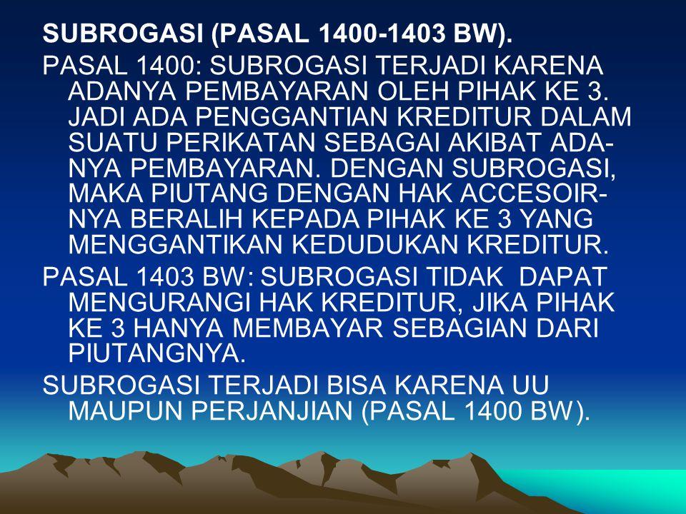 SUBROGASI (PASAL 1400-1403 BW).