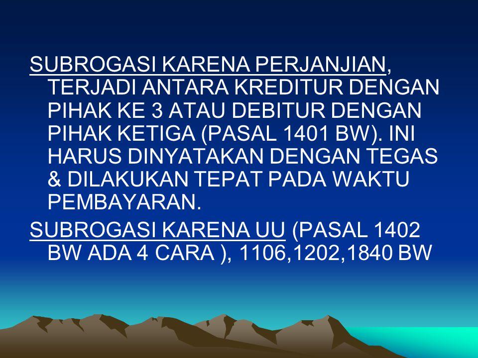SUBROGASI KARENA PERJANJIAN, TERJADI ANTARA KREDITUR DENGAN PIHAK KE 3 ATAU DEBITUR DENGAN PIHAK KETIGA (PASAL 1401 BW).