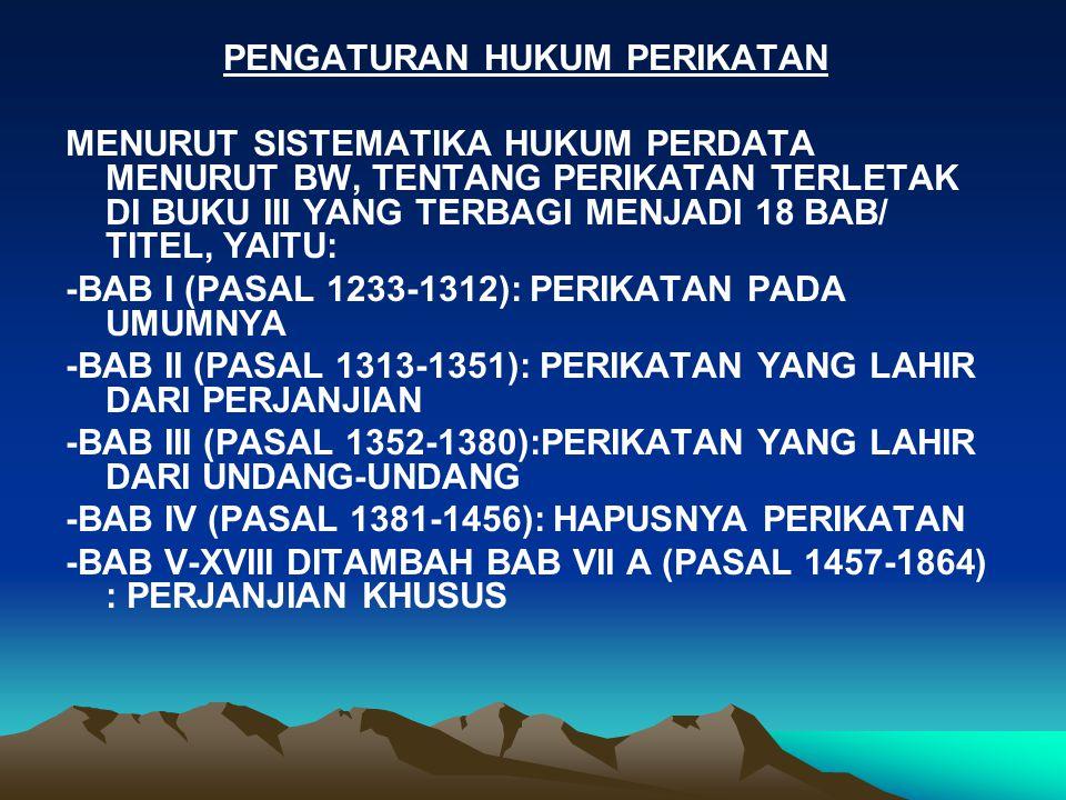PENGATURAN HUKUM PERIKATAN MENURUT SISTEMATIKA HUKUM PERDATA MENURUT BW, TENTANG PERIKATAN TERLETAK DI BUKU III YANG TERBAGI MENJADI 18 BAB/ TITEL, YAITU: -BAB I (PASAL 1233-1312): PERIKATAN PADA UMUMNYA -BAB II (PASAL 1313-1351): PERIKATAN YANG LAHIR DARI PERJANJIAN -BAB III (PASAL 1352-1380):PERIKATAN YANG LAHIR DARI UNDANG-UNDANG -BAB IV (PASAL 1381-1456): HAPUSNYA PERIKATAN -BAB V-XVIII DITAMBAH BAB VII A (PASAL 1457-1864) : PERJANJIAN KHUSUS