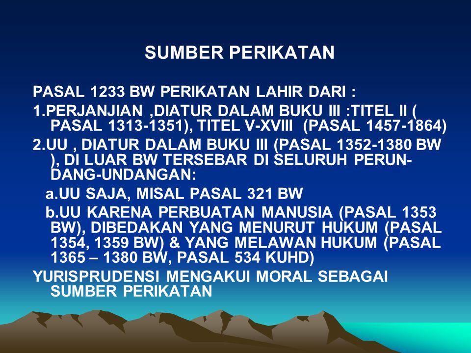 SUMBER PERIKATAN PASAL 1233 BW PERIKATAN LAHIR DARI : 1.PERJANJIAN,DIATUR DALAM BUKU III :TITEL II ( PASAL 1313-1351), TITEL V-XVIII (PASAL 1457-1864) 2.UU, DIATUR DALAM BUKU III (PASAL 1352-1380 BW ), DI LUAR BW TERSEBAR DI SELURUH PERUN- DANG-UNDANGAN: a.UU SAJA, MISAL PASAL 321 BW b.UU KARENA PERBUATAN MANUSIA (PASAL 1353 BW), DIBEDAKAN YANG MENURUT HUKUM (PASAL 1354, 1359 BW) & YANG MELAWAN HUKUM (PASAL 1365 – 1380 BW, PASAL 534 KUHD) YURISPRUDENSI MENGAKUI MORAL SEBAGAI SUMBER PERIKATAN