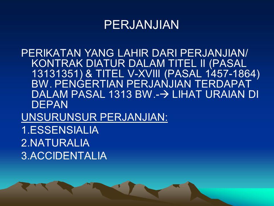PERJANJIAN PERIKATAN YANG LAHIR DARI PERJANJIAN/ KONTRAK DIATUR DALAM TITEL II (PASAL 13131351) & TITEL V-XVIII (PASAL 1457-1864) BW.