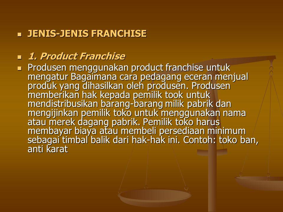 JENIS-JENIS FRANCHISE JENIS-JENIS FRANCHISE 1. Product Franchise 1. Product Franchise Produsen menggunakan product franchise untuk mengatur Bagaimana