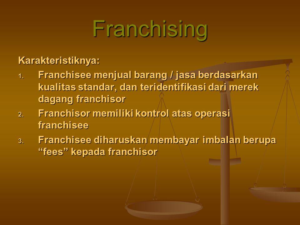 Franchising Karakteristiknya: 1. Franchisee menjual barang / jasa berdasarkan kualitas standar, dan teridentifikasi dari merek dagang franchisor 2. Fr