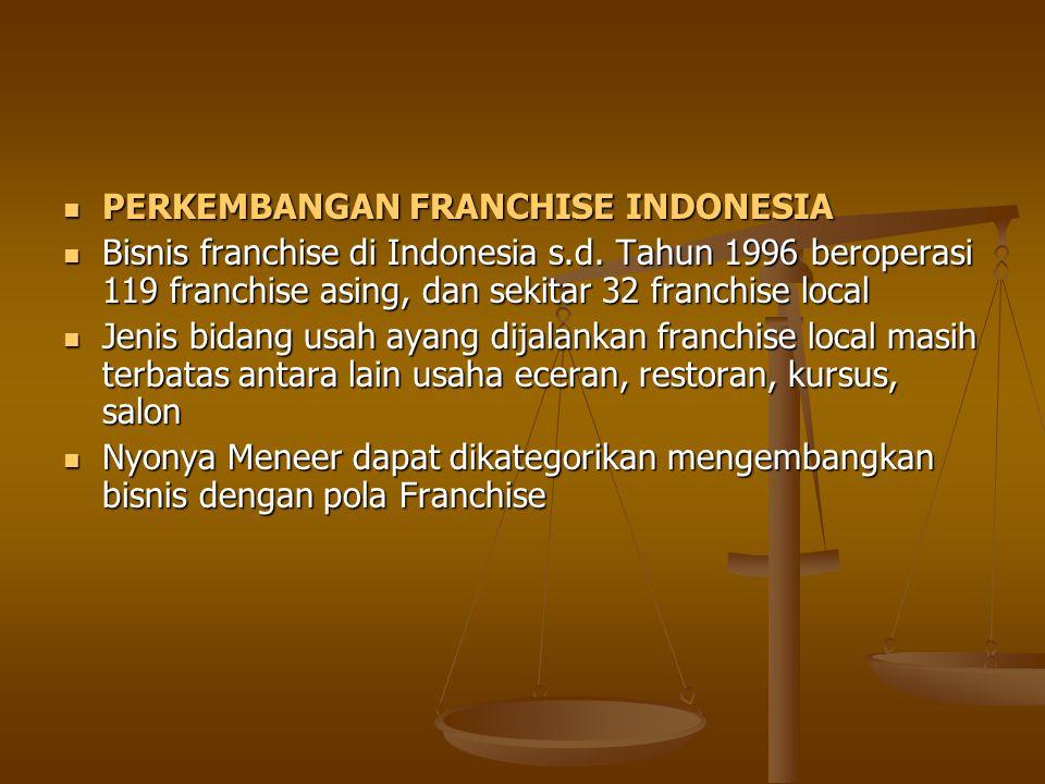 PERKEMBANGAN FRANCHISE INDONESIA PERKEMBANGAN FRANCHISE INDONESIA Bisnis franchise di Indonesia s.d. Tahun 1996 beroperasi 119 franchise asing, dan se