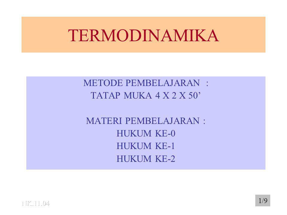 TERMODINAMIKA METODE PEMBELAJARAN : TATAP MUKA 4 X 2 X 50' MATERI PEMBELAJARAN : HUKUM KE-0 HUKUM KE-1 HUKUM KE-2 1/9