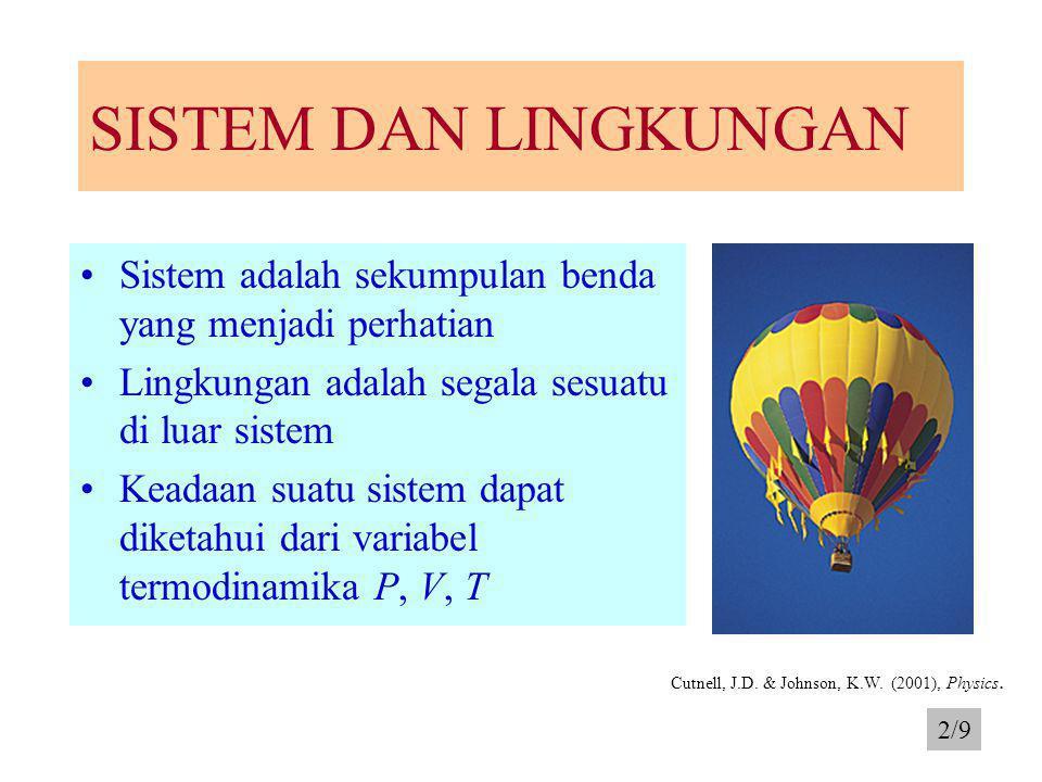 SISTEM DAN LINGKUNGAN Sistem adalah sekumpulan benda yang menjadi perhatian Lingkungan adalah segala sesuatu di luar sistem Keadaan suatu sistem dapat