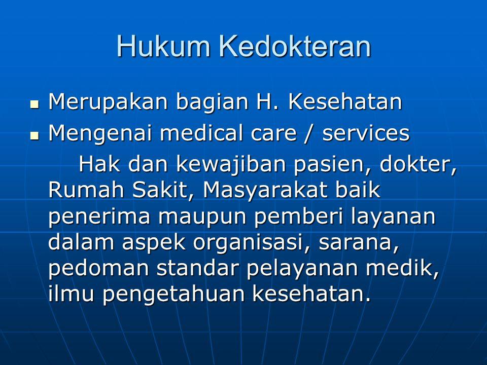 Hukum Kedokteran Merupakan bagian H. Kesehatan Merupakan bagian H. Kesehatan Mengenai medical care / services Mengenai medical care / services Hak dan