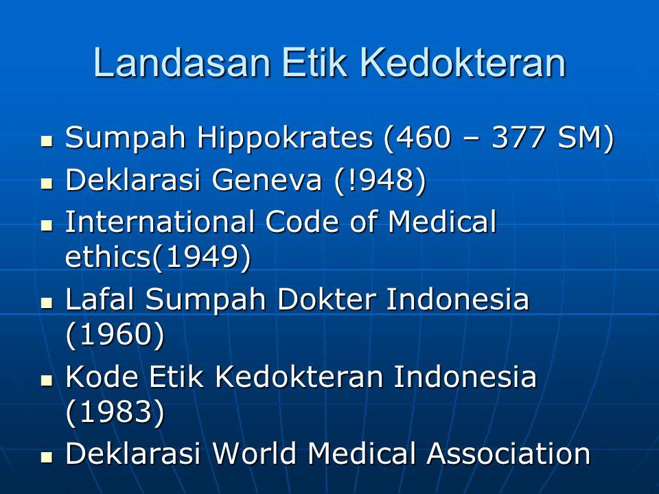 Landasan Etik Kedokteran Sumpah Hippokrates (460 – 377 SM) Sumpah Hippokrates (460 – 377 SM) Deklarasi Geneva (!948) Deklarasi Geneva (!948) Internati