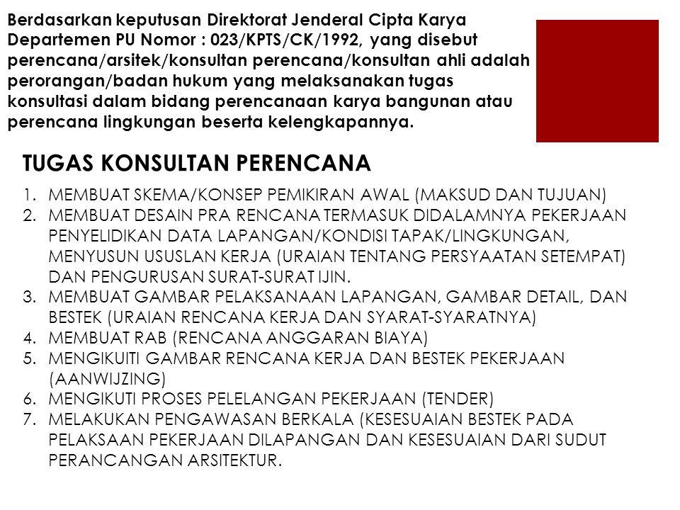 Berdasarkan keputusan Direktorat Jenderal Cipta Karya Departemen PU Nomor : 023/KPTS/CK/1992, yang disebut perencana/arsitek/konsultan perencana/konsu
