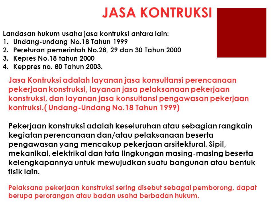JASA KONTRUKSI Landasan hukum usaha jasa kontruksi antara lain: 1.Undang-undang No.18 Tahun 1999 2.Pereturan pemerintah No.28, 29 dan 30 Tahun 2000 3.