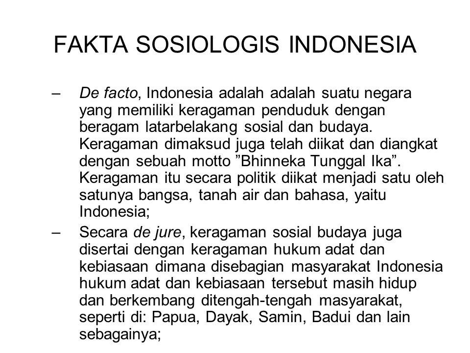 FAKTA SOSIOLOGIS INDONESIA –De facto, Indonesia adalah adalah suatu negara yang memiliki keragaman penduduk dengan beragam latarbelakang sosial dan bu