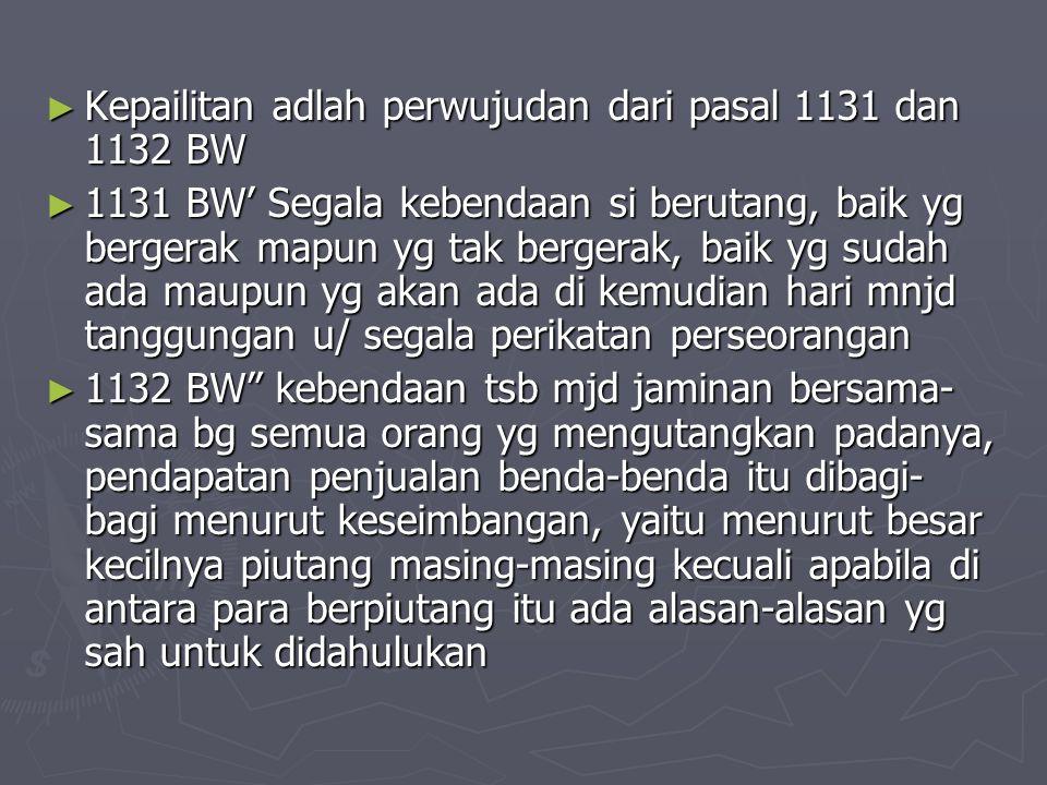 ► Kepailitan adlah perwujudan dari pasal 1131 dan 1132 BW ► 1131 BW' Segala kebendaan si berutang, baik yg bergerak mapun yg tak bergerak, baik yg sud