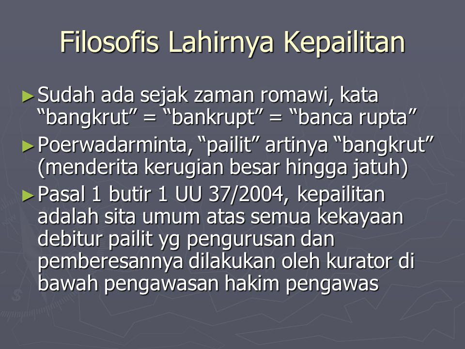 """Filosofis Lahirnya Kepailitan ► Sudah ada sejak zaman romawi, kata """"bangkrut"""" = """"bankrupt"""" = """"banca rupta"""" ► Poerwadarminta, """"pailit"""" artinya """"bangkru"""