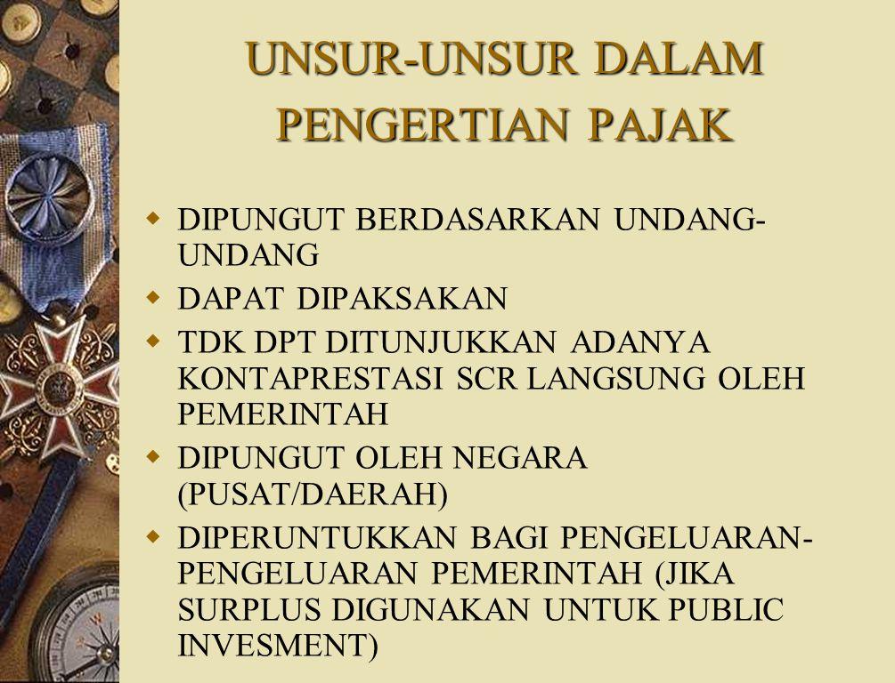 PENGERTIAN PAJAK  Prof.Dr.P.J.A.Adriani Iuran kepada negara (dapat dipaksakan) yang terutang oleh yang wajib membayarnya menurut peraturan dengan tid