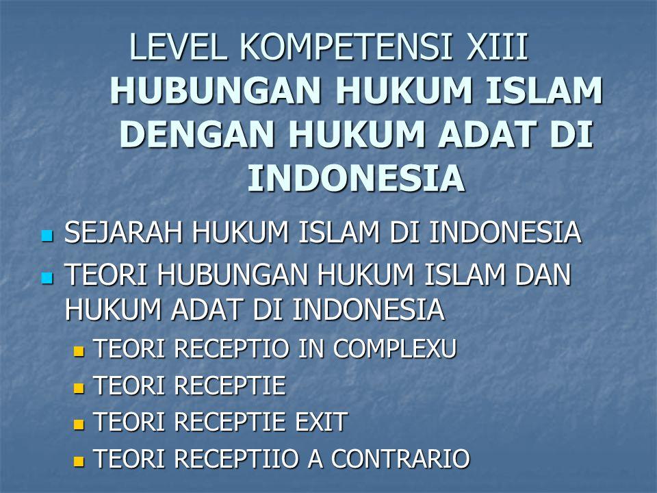 LEVEL KOMPETENSI XIII HUBUNGAN HUKUM ISLAM DENGAN HUKUM ADAT DI INDONESIA SEJARAH HUKUM ISLAM DI INDONESIA SEJARAH HUKUM ISLAM DI INDONESIA TEORI HUBUNGAN HUKUM ISLAM DAN HUKUM ADAT DI INDONESIA TEORI HUBUNGAN HUKUM ISLAM DAN HUKUM ADAT DI INDONESIA TEORI RECEPTIO IN COMPLEXU TEORI RECEPTIO IN COMPLEXU TEORI RECEPTIE TEORI RECEPTIE TEORI RECEPTIE EXIT TEORI RECEPTIE EXIT TEORI RECEPTIIO A CONTRARIO TEORI RECEPTIIO A CONTRARIO