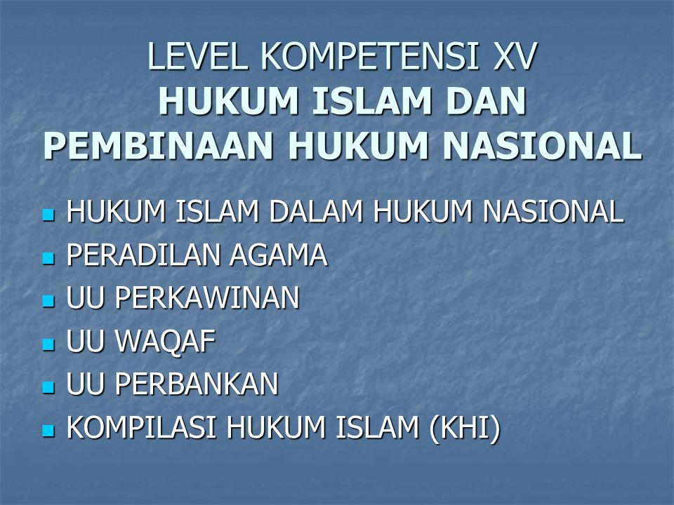 LEVEL KOMPETENSI XV HUKUM ISLAM DAN PEMBINAAN HUKUM NASIONAL HUKUM ISLAM DALAM HUKUM NASIONAL HUKUM ISLAM DALAM HUKUM NASIONAL PERADILAN AGAMA PERADILAN AGAMA UU PERKAWINAN UU PERKAWINAN UU WAQAF UU WAQAF UU PERBANKAN UU PERBANKAN KOMPILASI HUKUM ISLAM (KHI) KOMPILASI HUKUM ISLAM (KHI)