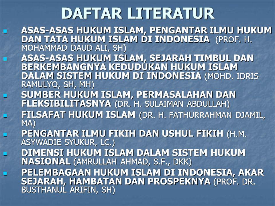 DAFTAR LITERATUR ASAS-ASAS HUKUM ISLAM, PENGANTAR ILMU HUKUM DAN TATA HUKUM ISLAM DI INDONESIA (PROF.