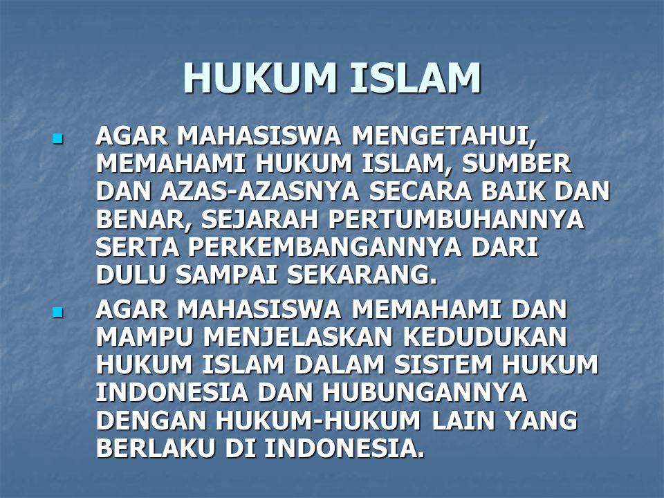 HUKUM ISLAM AGAR MAHASISWA MENGETAHUI, MEMAHAMI HUKUM ISLAM, SUMBER DAN AZAS-AZASNYA SECARA BAIK DAN BENAR, SEJARAH PERTUMBUHANNYA SERTA PERKEMBANGANNYA DARI DULU SAMPAI SEKARANG.