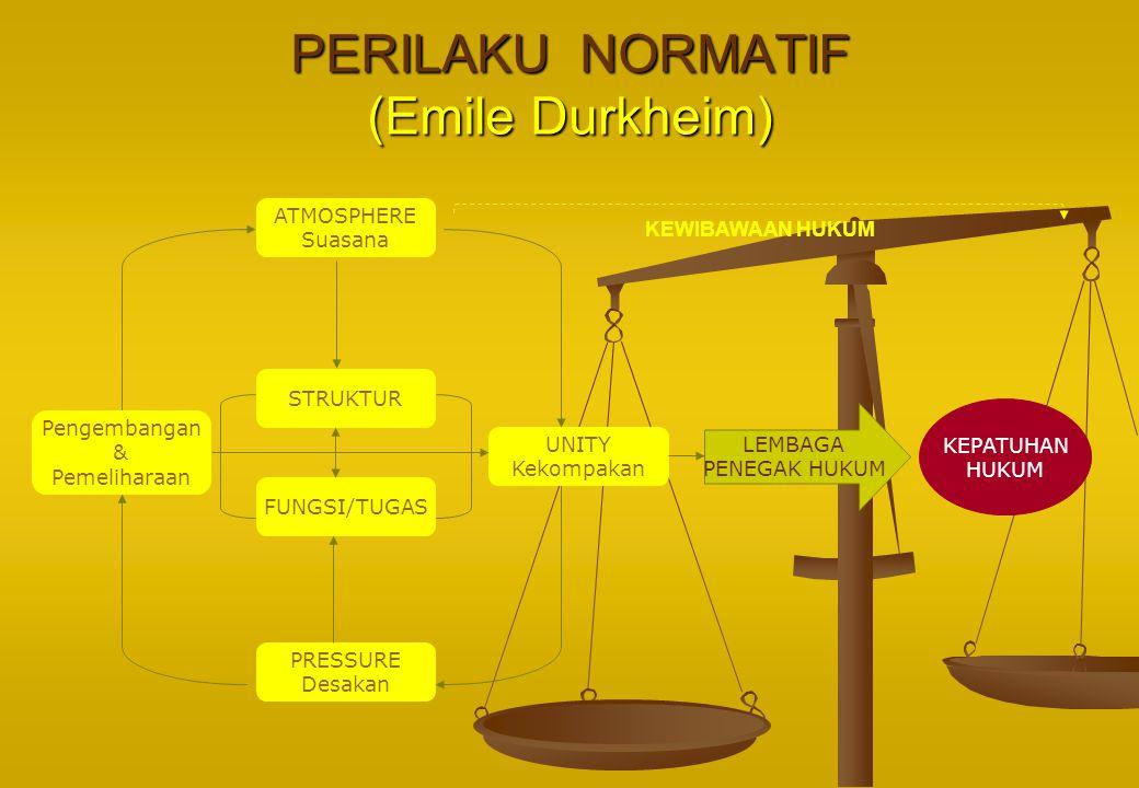 PERILAKU NORMATIF (Emile Durkheim) ATMOSPHERE Suasana STRUKTUR FUNGSI/TUGAS PRESSURE Desakan Pengembangan & Pemeliharaan UNITY Kekompakan LEMBAGA PENE