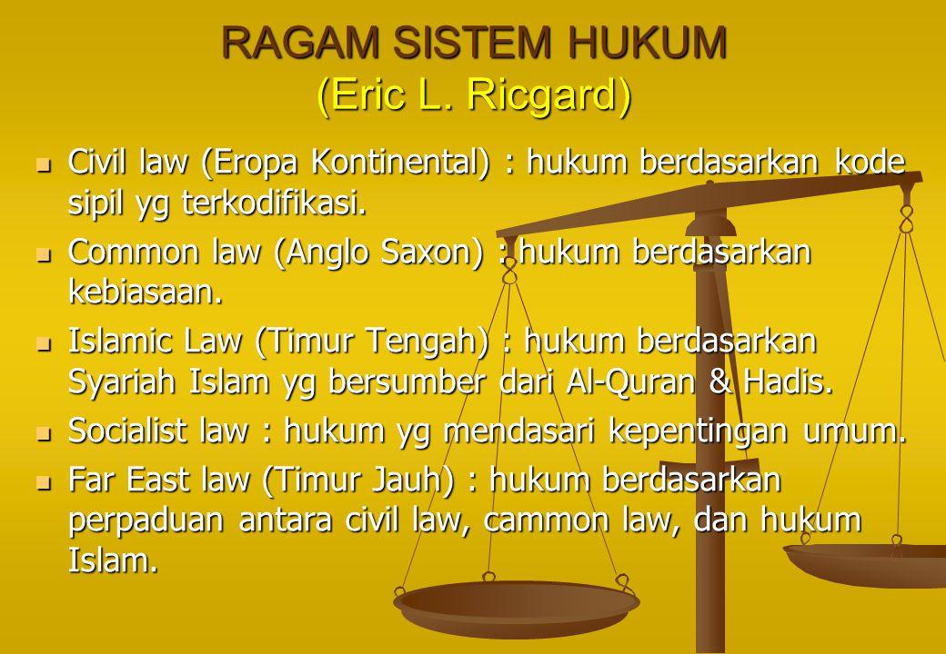 RAGAM SISTEM HUKUM (Eric L. Ricgard) Civil law (Eropa Kontinental) : hukum berdasarkan kode sipil yg terkodifikasi. Civil law (Eropa Kontinental) : hu