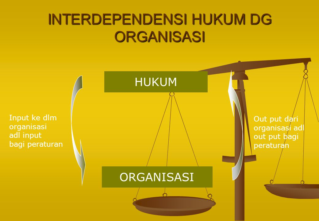 INTERDEPENDENSI HUKUM DG ORGANISASI HUKUM ORGANISASI Input ke dlm organisasi adl input bagi peraturan Out put dari organisasi adl out put bagi peratur