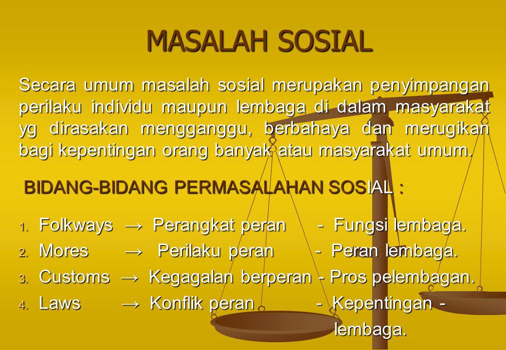 MASALAH SOSIAL MASALAH SOSIAL Secara umum masalah sosial merupakan penyimpangan perilaku individu maupun lembaga di dalam masyarakat yg dirasakan meng