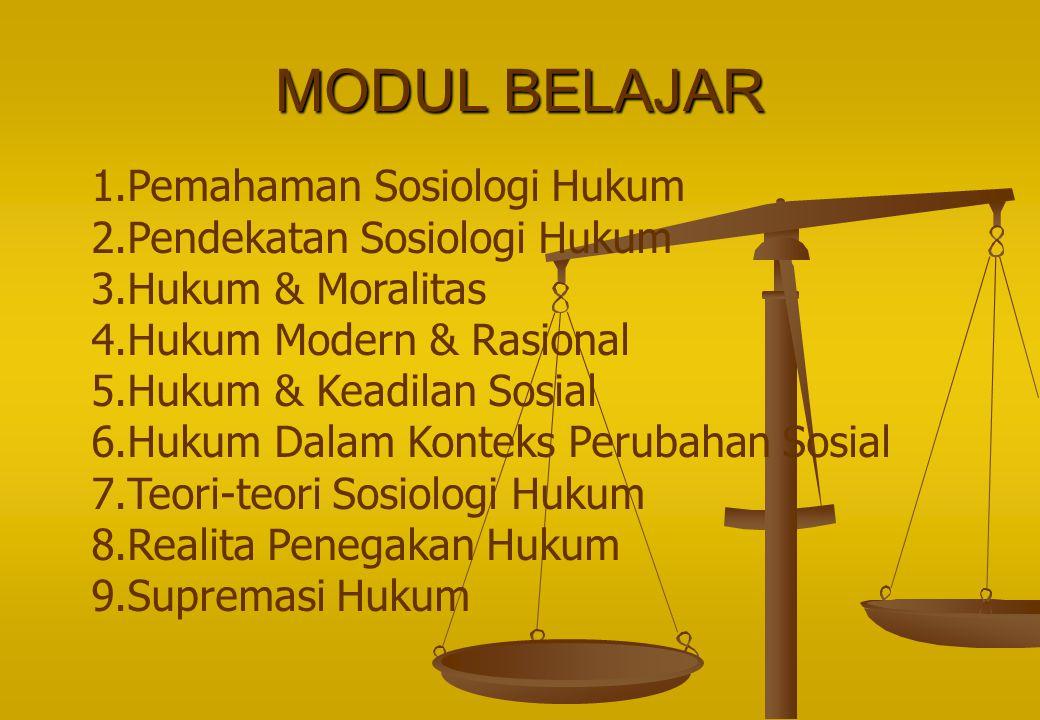 MODUL BELAJAR 1.Pemahaman Sosiologi Hukum 2.Pendekatan Sosiologi Hukum 3.Hukum & Moralitas 4.Hukum Modern & Rasional 5.Hukum & Keadilan Sosial 6.Hukum