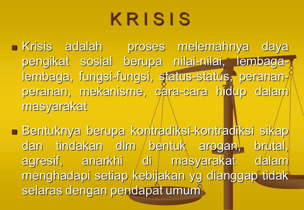 K R I S I S Krisis adalah proses melemahnya daya pengikat sosial berupa nilai-nilai, lembaga- lembaga, fungsi-fungsi, status-status, peranan- peranan,