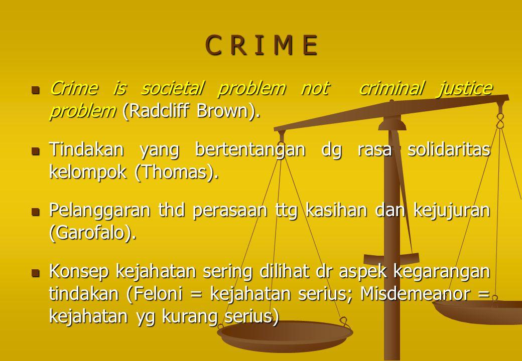 C R I M E Crime is societal problem not criminal justice problem (Radcliff Brown). Crime is societal problem not criminal justice problem (Radcliff Br