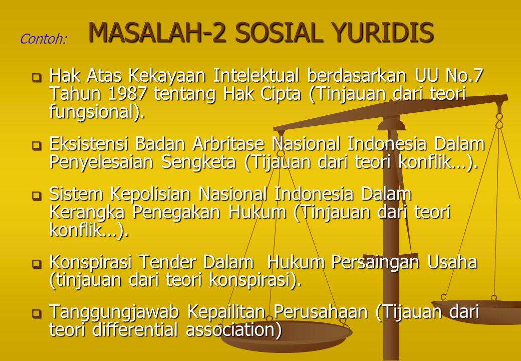 MASALAH-2 SOSIAL YURIDIS  Hak Atas Kekayaan Intelektual berdasarkan UU No.7 Tahun 1987 tentang Hak Cipta (Tinjauan dari teori fungsional).  Eksisten