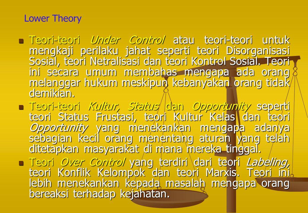 Teori ‑ teori Under Control atau teori ‑ teori untuk mengkaji perilaku jahat seperti teori Disorganisasi Sosial, teori Netralisasi dan teori Kontrol S