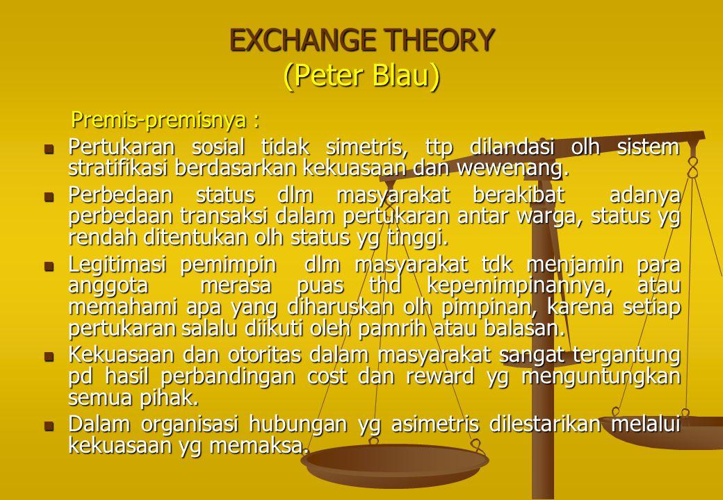 EXCHANGE THEORY (Peter Blau) Premis-premisnya : Premis-premisnya : Pertukaran sosial tidak simetris, ttp dilandasi olh sistem stratifikasi berdasarkan