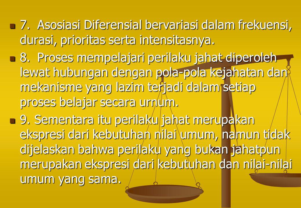 7.Asosiasi Diferensial bervariasi dalam frekuensi, durasi, prioritas serta intensitasnya. 7.Asosiasi Diferensial bervariasi dalam frekuensi, durasi, p