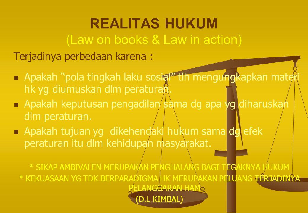 """REALITAS HUKUM (Law on books & Law in action) Terjadinya perbedaan karena : Apakah """"pola tingkah laku sosial"""" tlh mengungkapkan materi hk yg diumuskan"""
