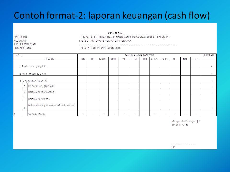 Contoh format-2: laporan keuangan (cash flow)