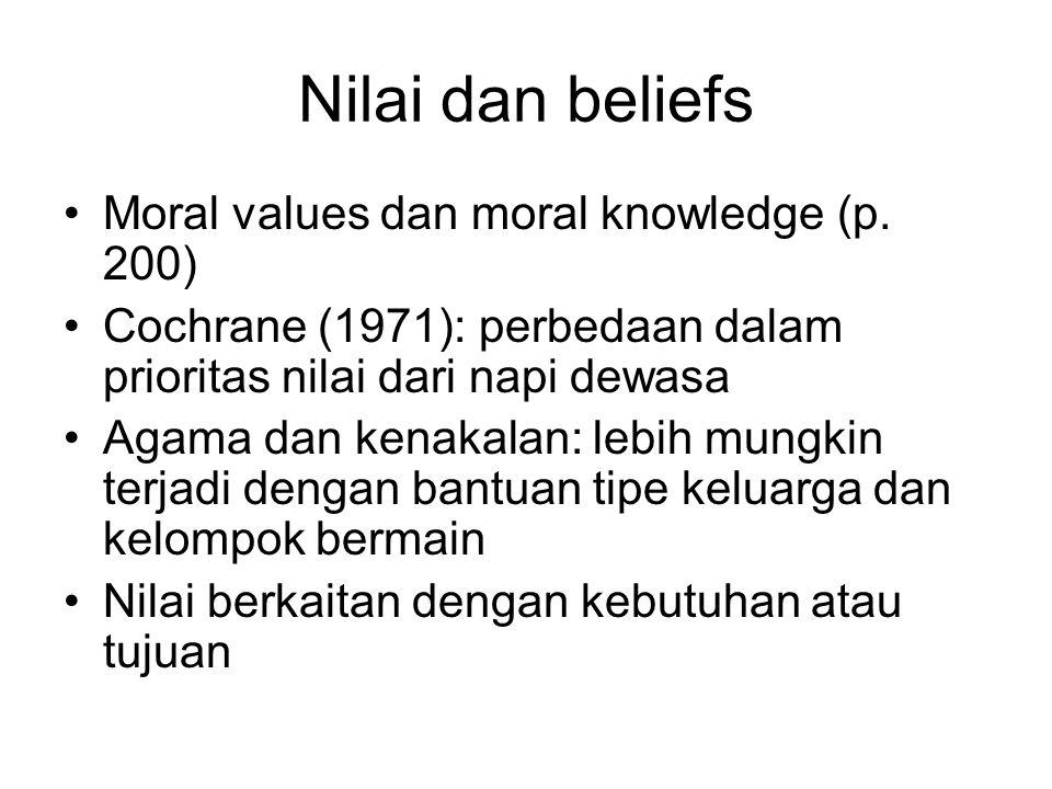 Nilai dan beliefs Moral values dan moral knowledge (p. 200) Cochrane (1971): perbedaan dalam prioritas nilai dari napi dewasa Agama dan kenakalan: leb