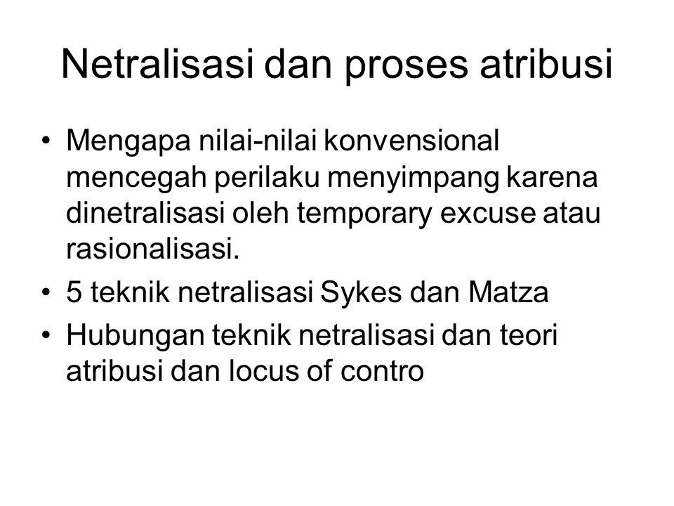 Netralisasi dan proses atribusi Mengapa nilai-nilai konvensional mencegah perilaku menyimpang karena dinetralisasi oleh temporary excuse atau rasional