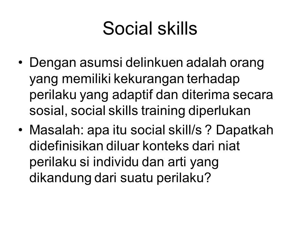 Social skills Dengan asumsi delinkuen adalah orang yang memiliki kekurangan terhadap perilaku yang adaptif dan diterima secara sosial, social skills t