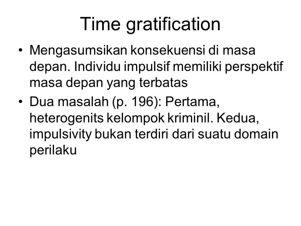Time gratification Mengasumsikan konsekuensi di masa depan. Individu impulsif memiliki perspektif masa depan yang terbatas Dua masalah (p. 196): Perta