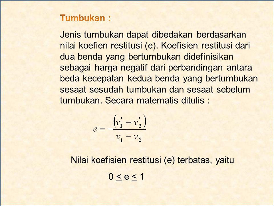 Nilai koefisien restitusi (e) terbatas, yaitu 0 < e < 1