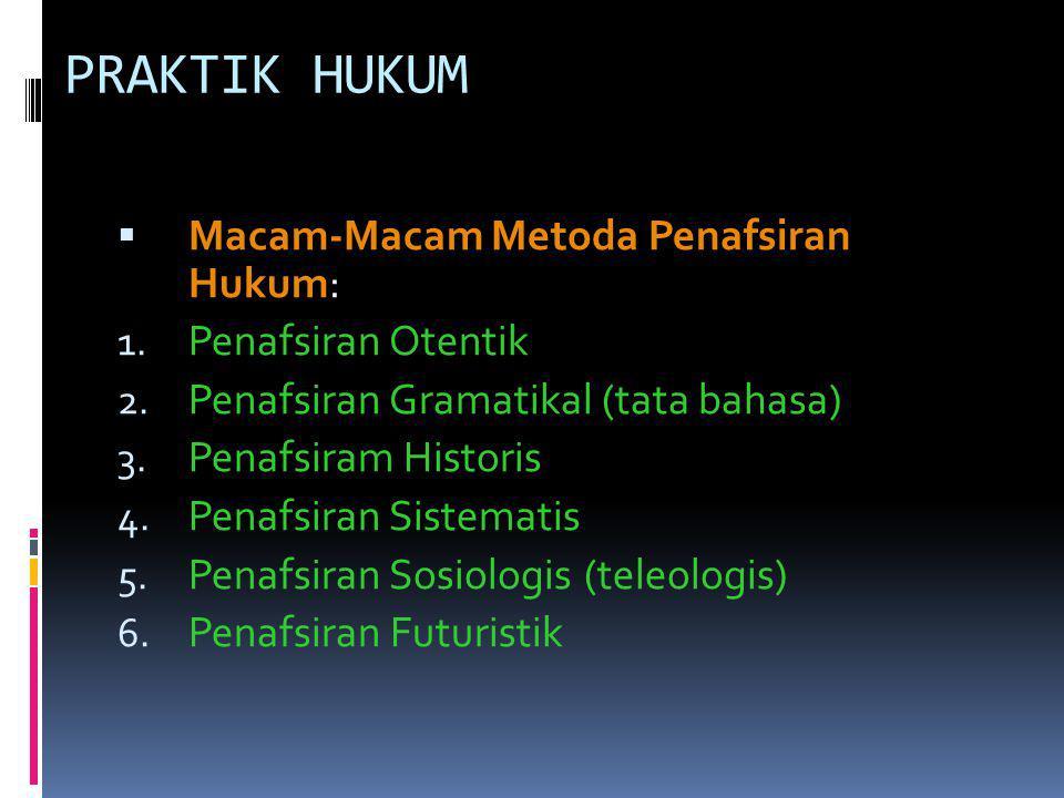 PRAKTIK HUKUM  Macam-Macam Metoda Penafsiran Hukum: 1. Penafsiran Otentik 2. Penafsiran Gramatikal (tata bahasa) 3. Penafsiram Historis 4. Penafsiran