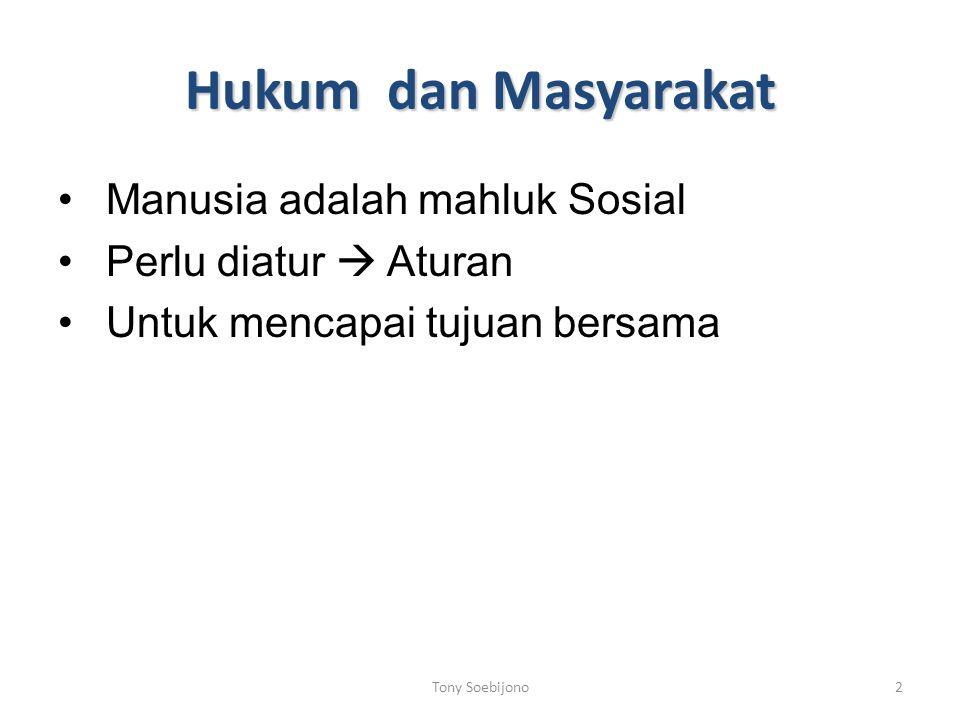 Hukum dan Masyarakat Manusia adalah mahluk Sosial Perlu diatur  Aturan Untuk mencapai tujuan bersama Tony Soebijono2