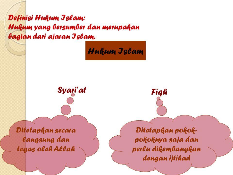 SYARI'AT FIQH 1.Wahyu Allah di dalam Al-Qur'an dan Sunnah Rosul 2.Bersifat konstan dan tetap berlaku di sepanjang zaman, abadi 3.Tidak boleh disesuaikan dengan situasi dan kondisi 4.Fundamental 5.Ruang lingkup lebih luas 6.Menunjukkan kesatuan dalam Islam 1.Hasil karya manusia 2.Bersifat fleksibel dan elastis 3.Tidak harus berlaku universal 4.Dapat disesuaikan dengan situasi dan kondisi 5.Mengenal perubahan, 6.Instrumental 7.Ruang lingkup terbatas 8.Disandarkan pada ulama mujtahid Syari'at landasan fiqh Fiqh ialah pemahaman orang tentang syari'at