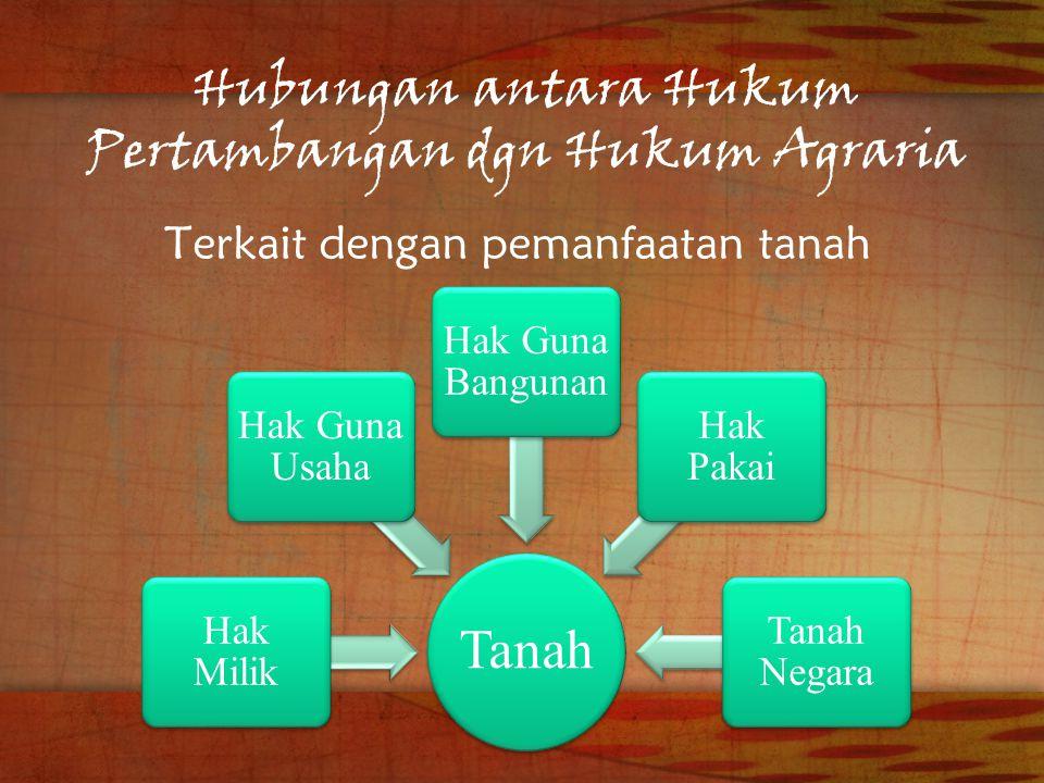 Hubungan antara Hukum Pertambangan dgn Hukum Agraria Terkait dengan pemanfaatan tanah Tanah Hak Milik Hak Guna Usaha Hak Guna Bangunan Hak Pakai Tanah