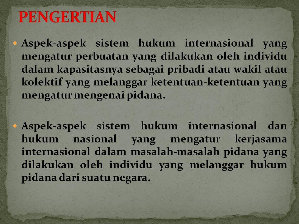 Aspek-aspek sistem hukum internasional yang mengatur perbuatan yang dilakukan oleh individu dalam kapasitasnya sebagai pribadi atau wakil atau kolektif yang melanggar ketentuan-ketentuan yang mengatur mengenai pidana.