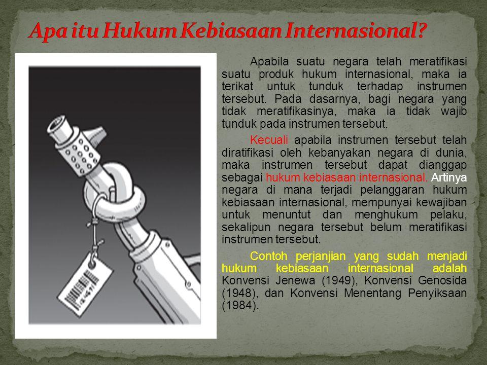 Apabila suatu negara telah meratifikasi suatu produk hukum internasional, maka ia terikat untuk tunduk terhadap instrumen tersebut.