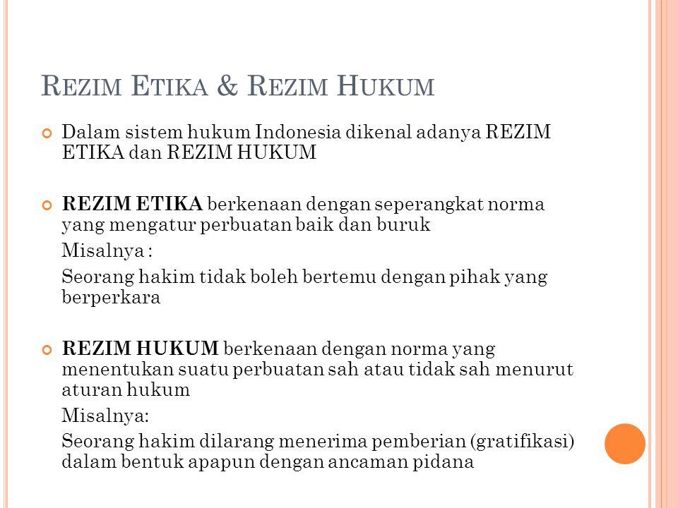 R EZIM E TIKA & R EZIM H UKUM Dalam sistem hukum Indonesia dikenal adanya REZIM ETIKA dan REZIM HUKUM REZIM ETIKA berkenaan dengan seperangkat norma y