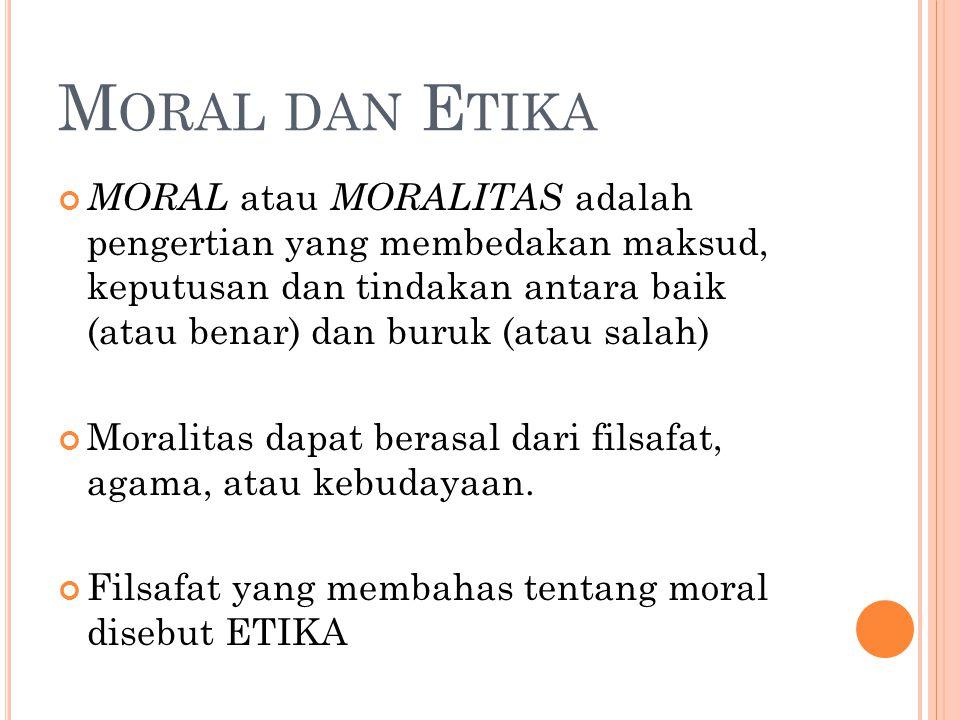 M ORAL DAN E TIKA MORAL atau MORALITAS adalah pengertian yang membedakan maksud, keputusan dan tindakan antara baik (atau benar) dan buruk (atau salah